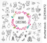 merry christmas   doodle xmas... | Shutterstock .eps vector #312934472