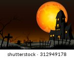 graveyard and fullmoon vector | Shutterstock .eps vector #312949178