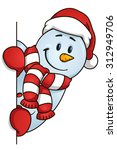 funny snowman hiding behind the ... | Shutterstock .eps vector #312949706