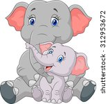 mom and baby elephant sitting... | Shutterstock .eps vector #312953672