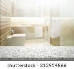 table top and blur interior of... | Shutterstock . vector #312954866