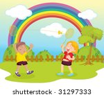 illustration of kids playing... | Shutterstock .eps vector #31297333