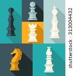 flat design chess figures | Shutterstock .eps vector #313004432