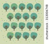 set of trees illustration   Shutterstock .eps vector #313006748