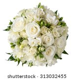 Stock photo bridal bouquet of white rose in bright colors with blue handle isolated on white 313032455