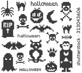 set of four icons on halloween... | Shutterstock .eps vector #313043606