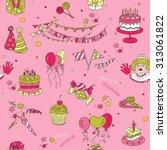 birthday seamless background  ... | Shutterstock . vector #313061822