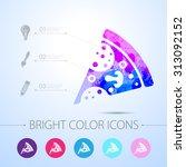 vector watercolor pizza icon... | Shutterstock .eps vector #313092152
