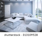 contemporary lounge with blue... | Shutterstock . vector #313109528