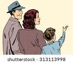 Family Mom Dad And Son Retro...