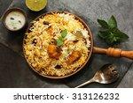 fish biryani overhead view | Shutterstock . vector #313126232
