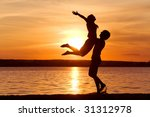 figures of happy guy holding...   Shutterstock . vector #31312978