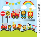 Stock vector cute animal trains 313140152