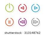 media icons. set of six media... | Shutterstock .eps vector #313148762