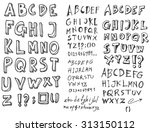 hand drawn alphabet letters  in ... | Shutterstock .eps vector #313150112