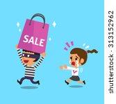 cartoon thief stealing a big... | Shutterstock .eps vector #313152962