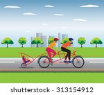 father and mother biking with... | Shutterstock .eps vector #313154912