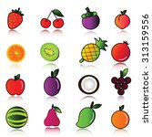 fruit icon set. | Shutterstock . vector #313159556