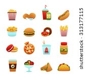 fast food icon set with donut... | Shutterstock . vector #313177115
