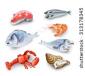 seafood products set with... | Shutterstock . vector #313178345