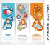 doctor banner vertical set with ... | Shutterstock . vector #313179056