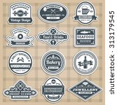 retro emblems set with food... | Shutterstock . vector #313179545