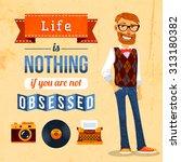 hipster trendy culture poster... | Shutterstock . vector #313180382