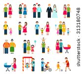 family figures icons set with... | Shutterstock . vector #313180748
