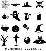 collection of halloween icons | Shutterstock .eps vector #313183778