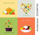 vegetables flat icons set with... | Shutterstock . vector #313184762