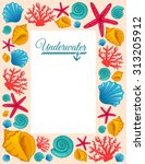 frame with seashells  coral and ... | Shutterstock .eps vector #313205912