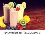 milk yogurts. | Shutterstock . vector #313208918