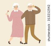 hand drawn cartoon grandparents ... | Shutterstock .eps vector #313212542