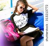 indoor fashion autumn portrait... | Shutterstock . vector #313213772