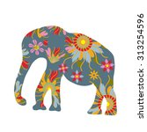colorful print with elephant...   Shutterstock .eps vector #313254596