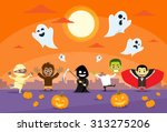 halloween monsters banner card... | Shutterstock .eps vector #313275206