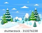 winter forest landscape...