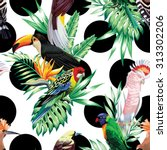 tropic exotic multicolor birds... | Shutterstock .eps vector #313302206