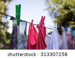 Drying Colorful Clothes Outside