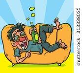 drunk man with bottle lying on... | Shutterstock .eps vector #313338035