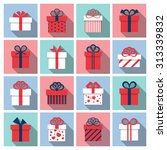 gift box icons with long shadow. | Shutterstock .eps vector #313339832