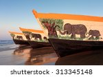 colorful fishing boats at the... | Shutterstock . vector #313345148