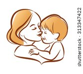 mother with her baby ... | Shutterstock . vector #313347422