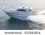 Elegant Motor Boat Sailing At...