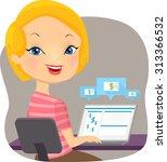 illustration of a girl using... | Shutterstock .eps vector #313366532