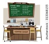 coffee bar  coffee shop. flat... | Shutterstock .eps vector #313368155