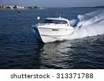 small boat travelling across... | Shutterstock . vector #313371788