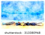 Watercolor Painting Of A Row O...