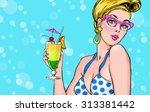 Pop Art Illustration Of Blond...