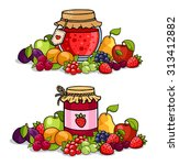 Jar Of Jam Surrounded By Fruit...
